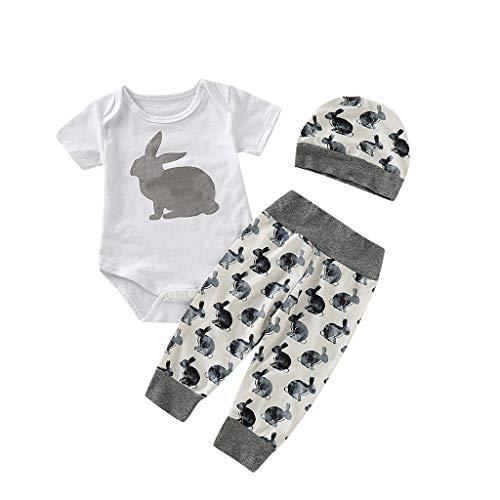 Neugeborenen Jumpsuits, Pwtchenty 3 Stücke Set Cartoon Häschen Druck Neugeborenen Jungen Strampler Kurzarm + Pants +Hut Outfits Kleidung 0-18 (Häschen Anzug Für Frauen)