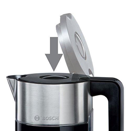Bosch TWK8613P Wasserkocher Styline mit Edelstahlapplikation, 2400 W, für 1,5 L Wasser, schwarz