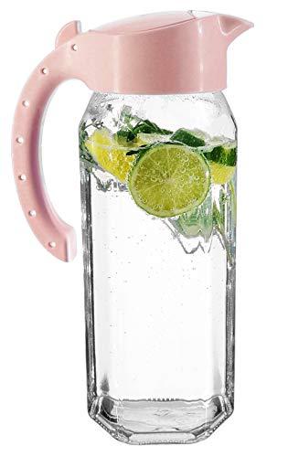 My-goodbuy24 Wasserkaraffe 1,5 Liter | Höhe 27,3 cm | Glas | sechskantglas | Saftkrug | Kühlschrankkrug | Wasserkrug | hochwertige Qualität - Pastell Rosa - BPA Free