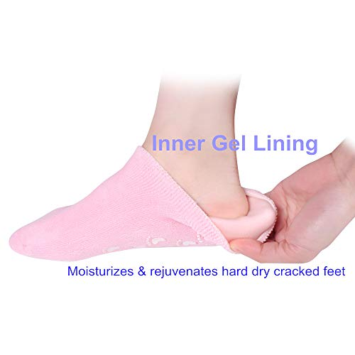 Preisvergleich Produktbild Gel Moisturizing Socks Spa Socks-Keep Feet White and Silky,  Relieve Dead Skin,  Dry Cracked Skin,  Relieve Pain from Plantar Fasciitis,  Heel Bone Spurs,  Calluses and Corns (Pink)