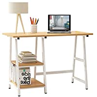 Fnova Computer Desk with 3 Shelves Storage Left Right PC Table Home Office Collection Workstation Writing Desk Wooden Metal Sturdy (Natural)