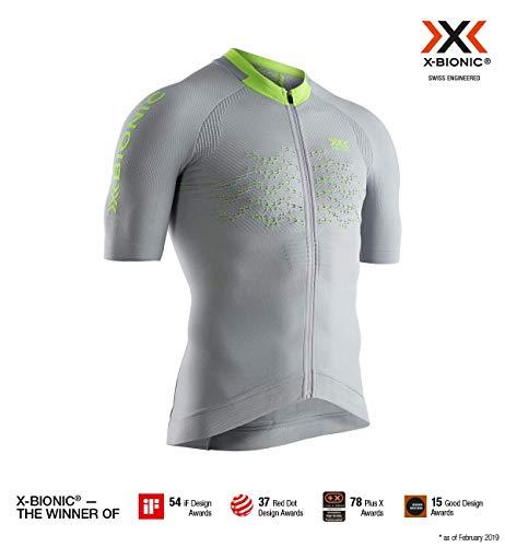x-bionic the trick 4.0 bike zip shirt short sleeve men, uomo, dolomite grey/phyton yellow, l