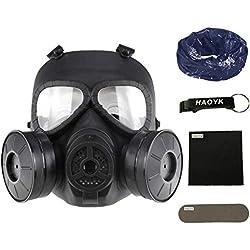 Masque à gaz anti-buée avec double ventilateur MO4 Masque de protection pour Airsoft Paintbal, noir - Porte-clés inclus