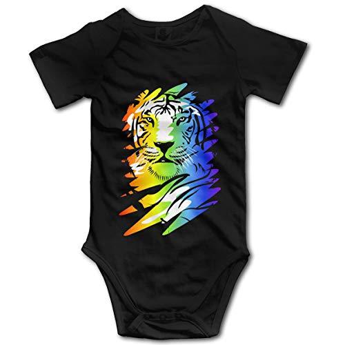 Vanesa Joyce Regenbogen Tiger Familie Neugeborenen GILR Jungen Kind Baby Strampler Kurzarm Kleinkind Overall(6M,Schwarz) -