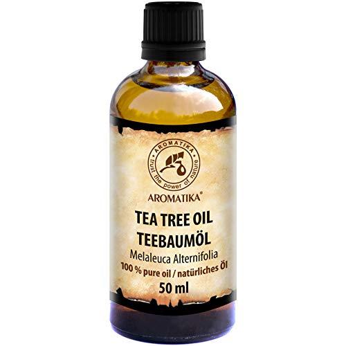 Teebaumöl - 100% Reines Ätherisches Öl Teebaum 50ml - Australien - Groß Antiseptikum - Teebaum Öl Guten Für Beauty - Baden -Körperpflege - Wellness - Schönheit - Entspannung - Massage - Duft Diffuser - Duftlampe - Raumduft - Kosmetik - Glasflasche - Ätherisches Teebaumöl Von Aromatika
