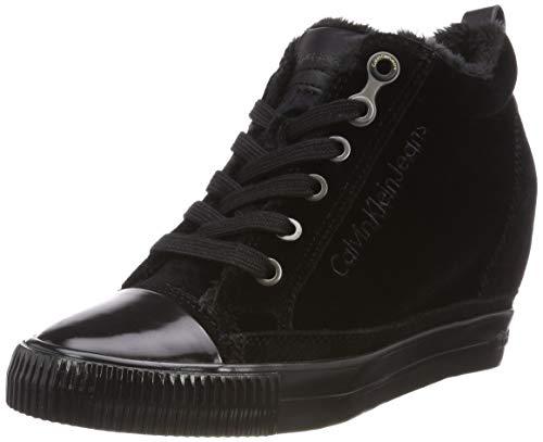 Calvin Klein Damen Robina Velvet Sneaker Schwarz (Black), 38 EU