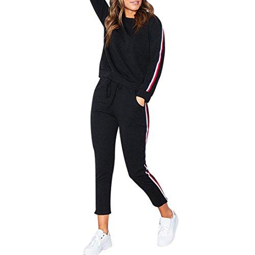 FORH Sportbekleidung Set Damen Einfachheit Langarm Sweatshirt Casual Hoodies Trainingsanzug und bequem Jogging Hosen Gym Sporthose 2 Stück Outfits (XXL, Schwarz)