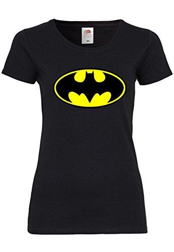 (METRA M120 F288N Damen T-Shirt mit Motiv Batman, Größe:L, Farbe:Black)