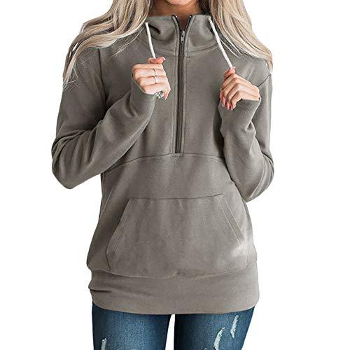 MRULIC Damen Herbst Winter Outwear Frauen Warm Reißverschluss Öffnen Elegante Hoodies Sweatshirt Langen Mantel Jacke Tops Kapuzenpullover(Dunkelgrau,2XL)