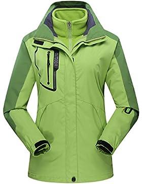 Menschwear para Mujer 3 en 1 Chubasquero con Capucha para Aire Libre Resistente al agua de tejido Softshell con...