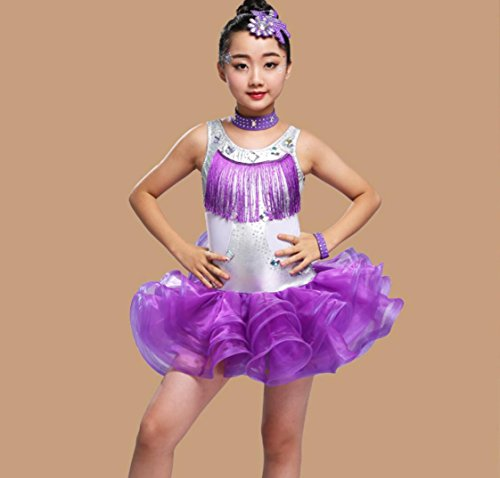 Kostüm Hot Dance Latin - Kinder Latin Dance Kostüm Kinder Quaste Hot Diamanten Latin Dance Wettbewerb Anzug lila schwarz, 130cm, Purple