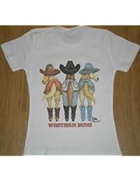 PATOUTATIS - t-shirt blanc femme motif cheval recto verso CHEVAUX country cowboy - ref 11540