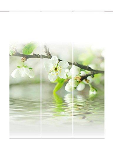 Home Fashion 88714-101 Panneau Coulissant Impression de 3 Fleurs de Cerisier de Grande qualité 100% Polyester, 245 x 60 cm (Blanc)