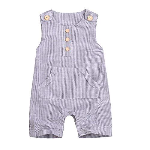 LABIUO 0-18 Monate Babykleidung,Neugeborener Babyoverall Lässiger Streifen Taste Jungenoverall Sommer Baumwolle Babykleidung(Grau,12-18Monate/100)