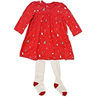 Get Wivvit Baby Girls Christmas Pudding Tree Novelty Xmas Dress & Tights Outfit Sizes from Tiny Prem to 18 Months Red
