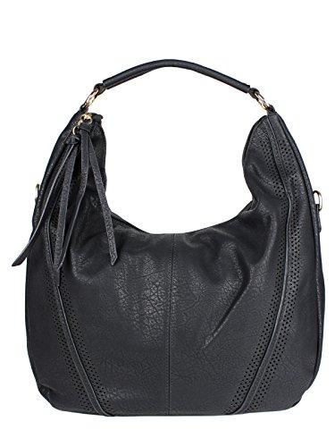 Damen Tasche Groß - Hobo Bag Shopper Schultertasche Kunstleder Schwarz von Schompi Trading (Handtasche Hobo Fringe)