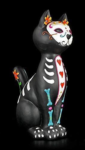 Gothic Katzen Figur - Day of The Dead - Puss | Dekofigur, Handbemalt