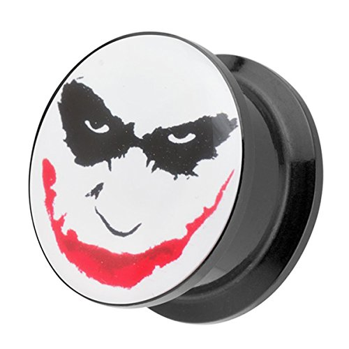 Piercingfaktor Ohr Plug Flesh Tunnel Piercing Ohrpiercing Schraub Schraubverschluß Picture Crazy Motiv Batman Joker Face Comic 25mm