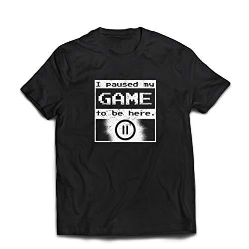 Lepni.me maglietta da uomo ho messo in pausa il mio gioco per essere qui camicia, regalo divertente giocatore (small nero