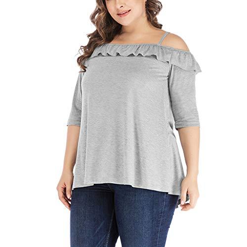(CAOQAO Damen Sexy Einfarbig T-Shirt Mit Gefaltetem Druck Mode Plus Size Solide Schulterfrei RüSchen Halbe HüLse Camis Bluse(XXXL,Grau))
