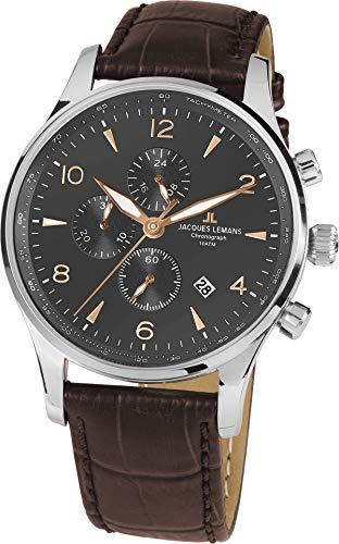 JACQUES LEMANS London 1-1844ZK - Reloj de Pulsera para Hombre (Correa de Piel Maciza, Acero Inoxidable)