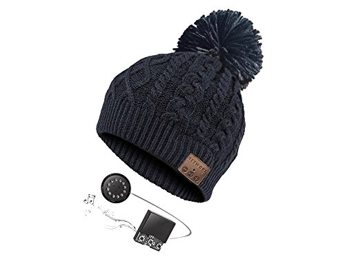 Oma Damen Mütze (Networx Bommel-Beanie, Mütze mit Bluetooth-Headset, schwarz)
