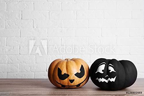 druck-shop24 Wunschmotiv: Pumpkins with Scary Faces Near Brick Wall, Space for Text. Halloween Decor #226901669 - Bild als Klebe-Folie - 3:2-60 x 40 cm / 40 x 60 cm