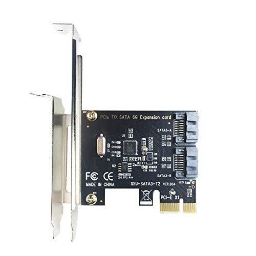 Glotrends PCIe 2.0 X1 SATA III 2 Puertos Adaptador