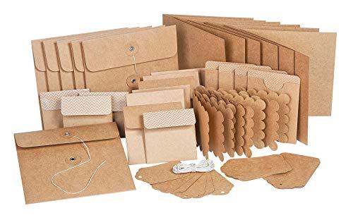 VBS Mega-Set Karten-Set Vintage-Karten 300g/qm Hochzeit Einladungskarten quadratisch braun Kraftpapier Geschenkanhänger Brief basteln