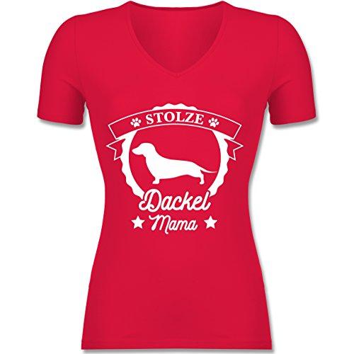 Hunde - Stolze Dackel Mama - XS - Rot - F281N - Tailliertes T-Shirt mit V-Ausschnitt für Frauen