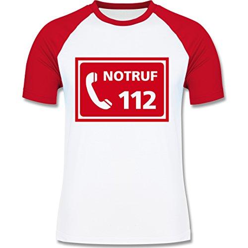 Feuerwehr - Feuerwehr - Notruf - zweifarbiges Baseballshirt für Männer Weiß/Rot
