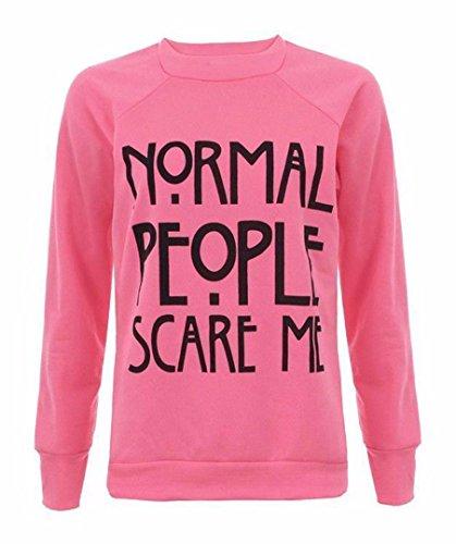 Manches Longues Gens Normaux Me Font Peur Print Sweatshirt - Femmes Rose néon
