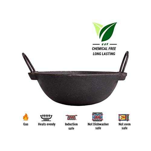 The Indus Valley Cast Iron Cookware - 2.5L Kadai [ Large Size / 10 Inches Diameter/Pre-Seasoned ] Perfect for 3-4 Member Family