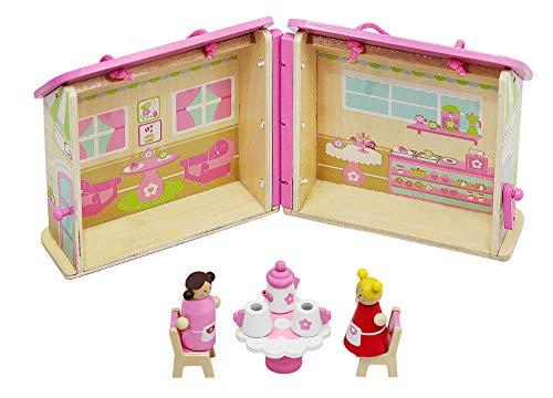 MALATEC Puppenhaus Holz Klappbar 8 Zubehörteile Spielzeug Tragbar Figuren Café Tee 6522 -