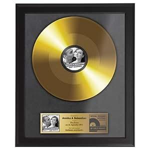 goldene schallplatte zur hochzeit urkunde personalisiert mit namen datum und foto. Black Bedroom Furniture Sets. Home Design Ideas