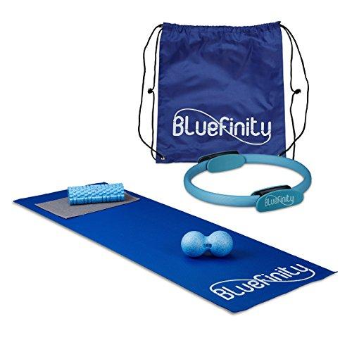 2 teiliges Fitness Pilates Set, Bodenmatte Yogamatte rutschfest, Pilates Ring, Widerstandsring mit Doppelgriff