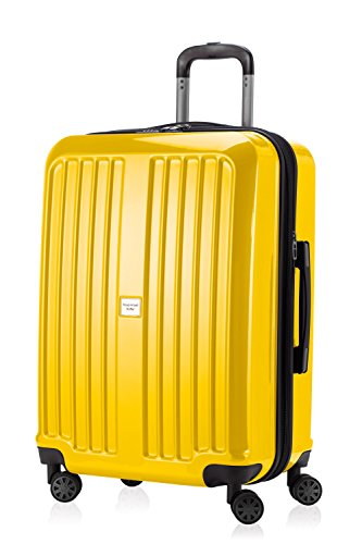 HAUPTSTADTKOFFER - X-Berg - Hand Luggage On-Board Suitcase Cabin Bag Hardside Spinner Trolley 4 Wheel, TSA, 65 cm, 90 liter, Yellow glossy (Gepäck-set Hardside)