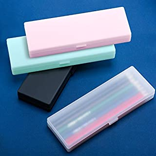 4 Pièces Étui à Crayons en Plastique Mallette en Plastique avec Couvercle à Charnière et Fermeture à Pression pour Crayons, Stylos, Forets, Fournitures de Bureau (Blanc)