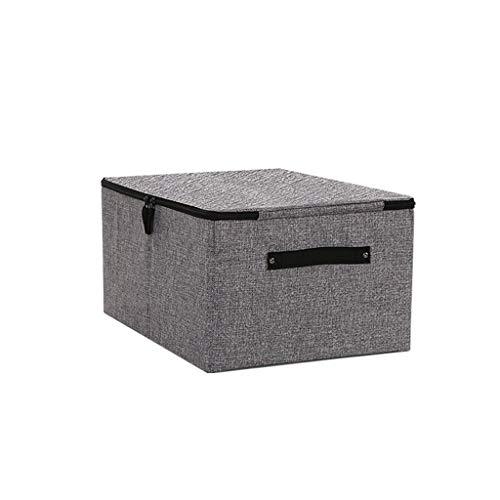 schluss Mit Deckel - Aufbewahrungsbox, Würfel Bettwäsche Baumwolle Größer Veranstalter Lagerplätze- Büro (Farbe : Dunkelgrau) ()