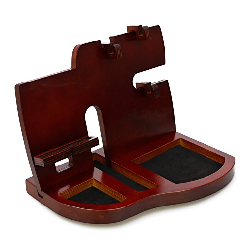 Pomcat Men's Gift Red Wooden Phone Docking Station With Key Holder, Wallet And Watch Organizer