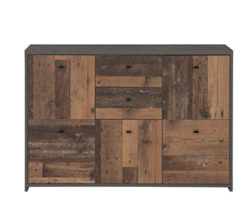 Cómoda Newface con Cinco Puertas y Dos cajones en una Moderna combinación de Colores Old-Wood Vintage Combinado con Aspecto de hormigón, Talla única