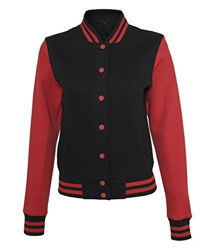 Artdiktat Oldschool Sweat College Jacket Damen - LONG LIVE ROCK & ROLL SINGER - Pop Culture Größe M, schwarzrot