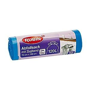 Rubin Zugband Abfallsäcke – 120 Liter (10 Stück) – Reißfest und Flüssigkeitsdicht – Einfach entnehmen ohne Abreißen