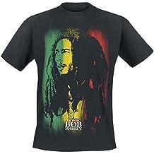 Bob Marley Stare Paint Stripe Camiseta Negro 670a26a59d364