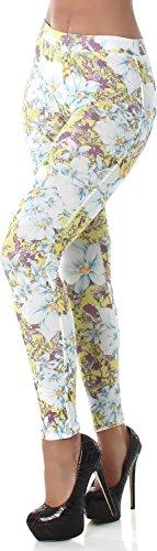 PF-Fashion Damen Leggings Leggins Blumen Tregging Jeggings Tapered Taschen ohne Verschluss Gelb 34/36 (Jegging Kurz)