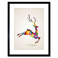 Wee Blue Coo Painting Leaping Running Deer Polygon Framed Wall Art Print