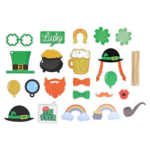 BESTOYARD St. Patrick's Day Foto Stand Requisiten vierblättriges Kleeblatt Frühling Thema Foto Requisiten Irisches Festival St. Patrick Party Supplies 24Pcs