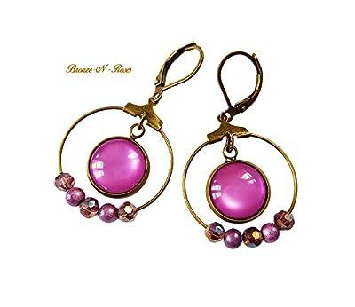 boucles d'oreille créoles violettes pendants bronze-n-roses perles