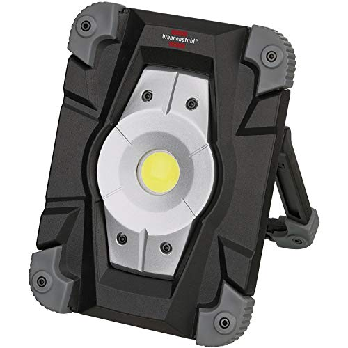 Brennenstuhl Akku LED Arbeitsstrahler (Außenleuchte 20 Watt, Baustrahler IP54, Fluter Tageslicht) schwarz/grau -