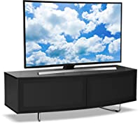 "Centurion Supports Caru Gloss Black Beam-Thru Remote Friendly Super-Contemporary""D"" Shape Design 32""-65"" LED/OLED/LCD TV Cabinet"